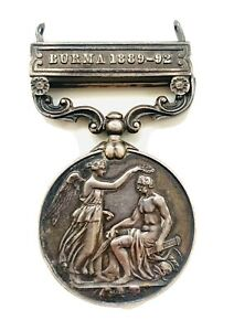Antique India General Service Medal 1854-1895 Burma 1889-1892 Clasp Inscribed