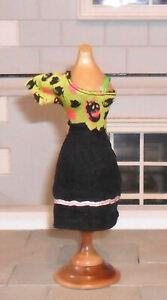 1/12TH SCALE DOLLS' PUMPKIN PATTERNED DRESS