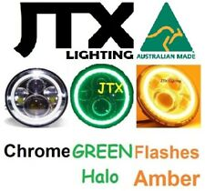 "7"" CHROME Lights GREEN AMBER Halo Holden Gemini TX TC TD TE Jackaroo KB Rodeo"
