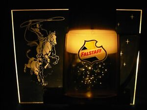 VINTAGE FALSTAFF BEER MUG COWBOY ON HORSE RODEO CALF ROPING LIGHTED EDGE SIGN