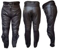 WARRIOR ALL BLACK MOTORCYCLE MOTORBIKE OFFROAD COWHIDE LEATHER CE ARMOUR TROUSER