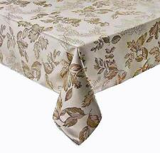 """Autumn Leaves Thanksgiving & Fall Tablecloth Golden Metallic Leaves 70"""" ROUND"""