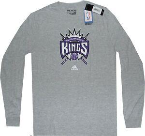 Sacramento Kings Throwback Throwback GRAY Adidas Long Sleeve Shirt CLOSEOUT