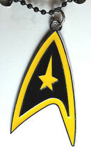 "Star Trek Yellow Command Symbol 2"" Necklace w/Black Chain- Mailed from USA"
