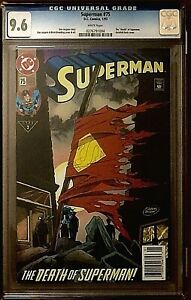 SUPERMAN #75 DEATH OF SUPERMAN CGC 9.6 1993, GATEFOLD COVER, FIRST PRINTING