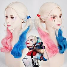 Harley Quinn Wig For Cosplay Synthetic Hair Curly Pink Blue Costume