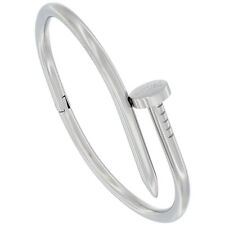 7 inch Stainless Steel Nail Style Oval Bangle Bracelet