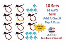 10x MINI Fuse Taps Holder Add-A-Circuit 16 AWG Gauge Car Auto Truck +15 Amp NEW