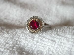 Alwand Vahan 14K Yellow Gold Sterling Silver Ruby & Diamond Halo Ring