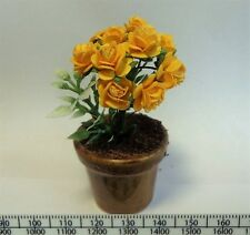 1:12 Scale Yellow Roses In A Pot Doll House Miniatures Garden