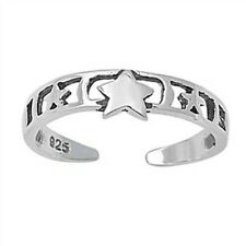 925 Adjustable Gift Face Height 4 mm Star Toe Ring Solid Genuine Sterling Silver