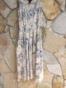 J Peterman Sundress Blue Toile On Cream Full Skirt 100% Cotton Maxi Button Frt 8