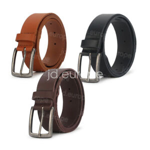 Mens Genuine Leather Belt Belts Casual with Pin Buckle Jeans Sizes 29-47IN Black