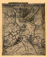 "1863 South Carolina, Charleston, antique, military, Civil War Map, 20""x16"""