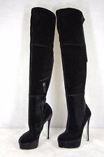 Alberto Moretti  HI HEEL BLACK  STRETCH VELVET OVER THE KNEE BOOTS EU 38 US 8
