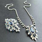 Unsigned SHERMAN Vintage Sapphire Blue Rhinestone Necklace Brooch Pin SET 276