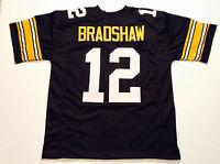 UNSIGNED CUSTOM Sewn Stitched Terry Bradshaw Black Jersey - M, L, XL, 2XL