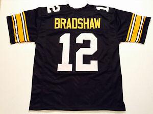UNSIGNED CUSTOM Sewn Stitched Terry Bradshaw Black Jersey - M, L, XL, 2XL, 3XL