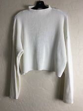 Sz 10 US Topshop Ivory Compact Stitch Rib funnel Crop Sweater Top Long Sl 0165