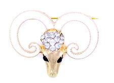 Oro e bianco colorato ram/pecora/capra testa teschio ariete segni zodiacali
