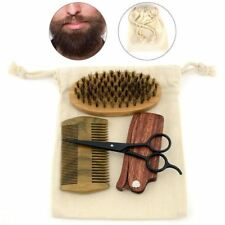 Beard Brush Mens Mustache Care Grooming Kit Boar Bristle Comb Shears Scissor Set