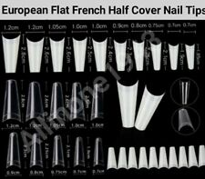 100/500Pcs Flat French Half Cover Artificial False Nail Tips White/Natural/Clear