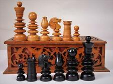 "ANTIQUE ENGLISH CLUB CHESS SET ST GEORGE JAQUES  PATTERN K 4"" +NICE BOX NO BOARD"