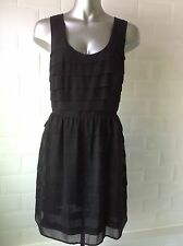SIZE 12 NEXT BLACK CHIFFON DRESS EXPOSED ZIP CHAINS GOTH WHITBY PARTY WEDDING
