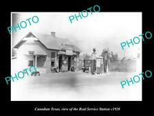 OLD LARGE HISTORIC PHOTO OF CANADIAN TEXAS, THE REAL SERVICE STATION c1920