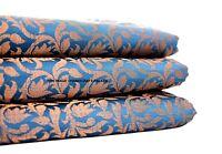 "Designer Brocade Jacquard Fabric- Turquoise Floral- Upholstery Damask fabric 44"""