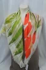 Echo Design Scarf White Pink Yellow Multi Floral Print Frayed Large Square 44x43