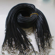 Fashion Wholesale Bulk Lot 10pcs 10String BLACK PU Leather String Necklace Cord