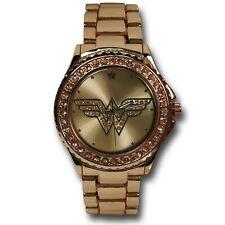 Wonder Woman Symbol Rose Gold Watch with Metal Band Pink