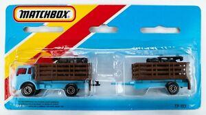 1984 Matchbox Two-Packs TP-103 Dodge Cattle Truck Set / LIGHT BLUE / RED WINDOWS