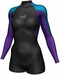 CRYSTAL Springsuit 2mm Superstretch Long Sleeve Wetsuit Womens Blue Purple Surf