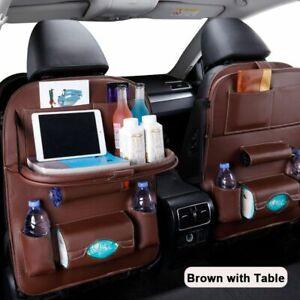 Car Seat Organizer Back Pu Leather Pad Bag Storage Foldable Table Tray Travel 1p
