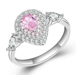 Pink Sapphire Made with Swarovski Crystals Pear shaped Women Engagement Ring R69