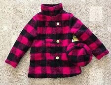 Penelope Mack Size 5 Girls Dress Winter Coat Hat Pink/Black Check Plaid Lined