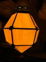 VINTAGE DECO STAINED SLAG GLASS HANGING LIGHT FIXTURE SHADE 307
