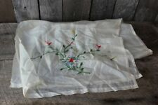 Lovely Vtg Antique Ladies Sheer Embroidered Flowers Floral Scarf Chiffon