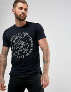 Diesel Men's T-Edward Embroidered Patch T-Shirt 00SZK9 in Blue/Navy
