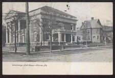 Postcard WARREN Pennsylvania/PA  Conewango Club House Building view 1907