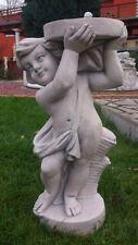 Gartenfigur, Putte mit Platte für Pflanztopf, Park & Gartendeko Steinguss Statue