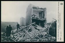 Zeppelin over Paris ww1 death funeral WWI war original old c1915 postcard cc