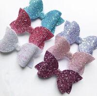 "Baby Girl 3.5"" Sparkling Glitter Hair Bow Clip Hairpin Clip Slides Headwear Gift"