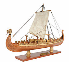 "Drakkar Dragon Viking Ship Wooden Model Small 15"" Built Sailboat"