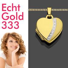 Medaillon Foto Amulett Herz Echt Gold 333 8 Kt Damen Anhänger & vergoldete Kette