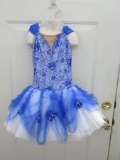 Blue White Lace Ballet Tutu Dress Dance Costume Medium Child MC 8 10
