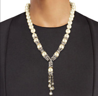 HEIDI DAUS Captivating Cascade Faux Pearl & Crystal Waterfall Drop Necklace NWT
