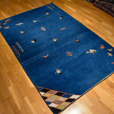 Blue Gabbeh Handmade Vintage Traditional Oriental Wool Rug 185 X 120cm